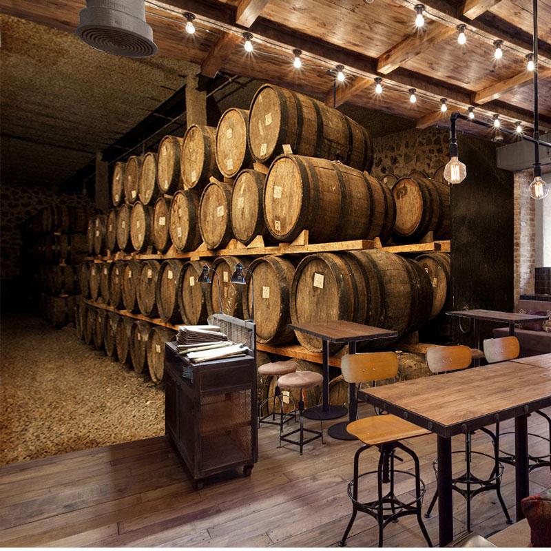 Europe Vintage Wall Paper 3D Wine Cellar Barrel Photo