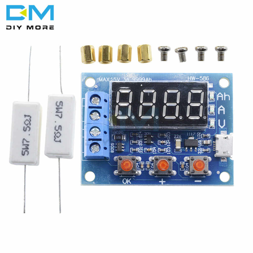 Diy Resistive Load Bank Micro Usb Power Battery Capacity Tester Zb2l3 Led Digital Li Ion Lithium 18650 External Load Battery Discharge Testing Analyzer