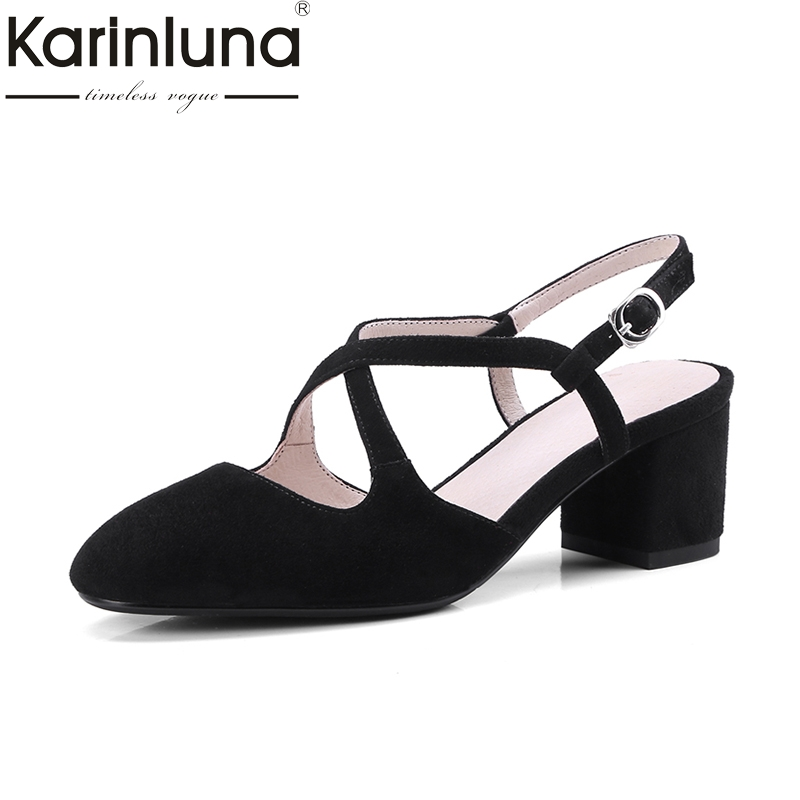 KARINLUNA Geuine Leather Plus Size 33-42 buckle strap Women Pumps chunky High Heels Pointed Toe Office Ladies Shoes Woman 2018 comfy women pointed toe square high heels office shoes woman flock ladies pumps plus size 34 40 black grey high quality