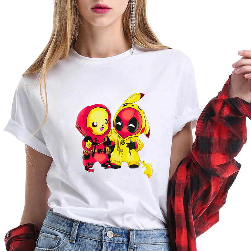 Deadpool Pikachu Pattern T Shirt Funny Tee Shirt Fashion Clothing Female T-shirt Women Harajuku White Tshirt Camisetas Hombre