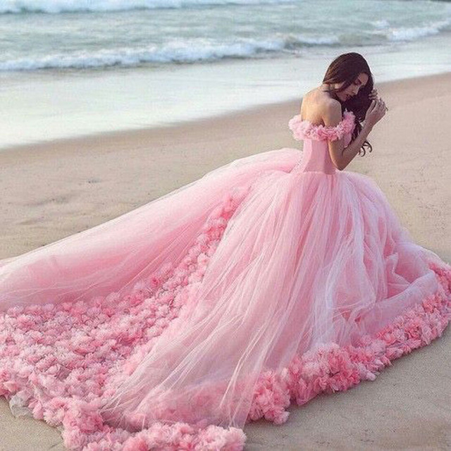 Ultra Romantic Pink Floral Couture Wedding Dresses Long Train ...