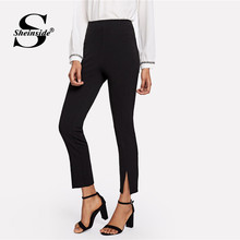 Sheinside Mid Waist Split Hem Cigarette Pants Women Black Zipper Workwear Pencil Pants Office Ladies Elegant Skinny Trousers