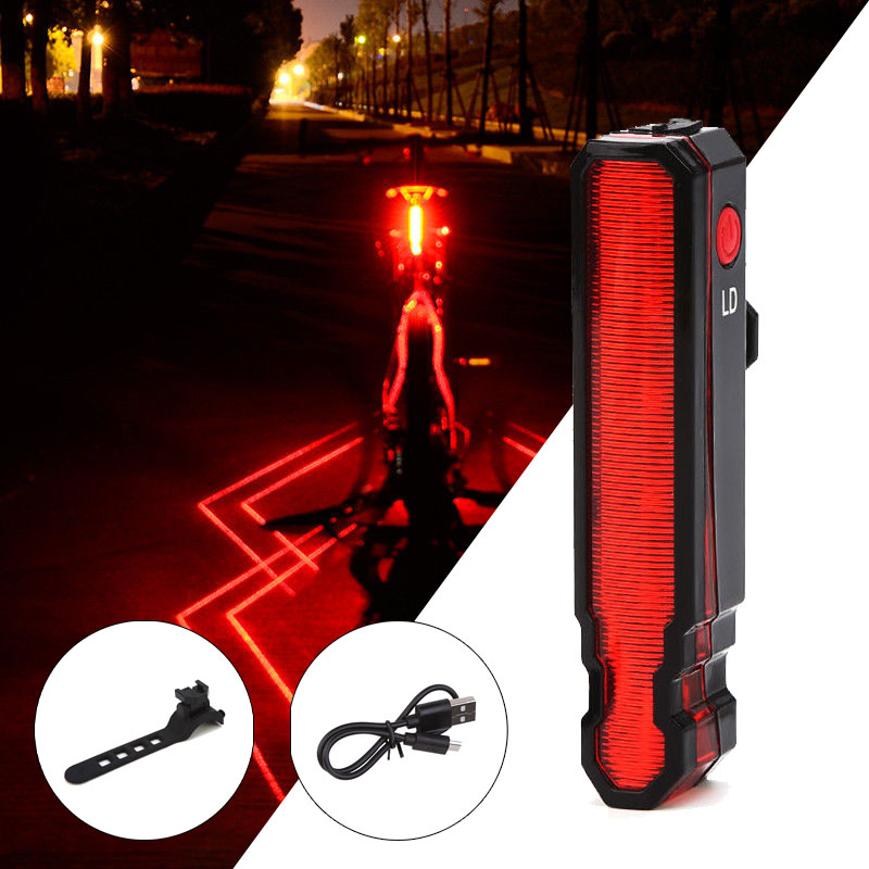 2019 Folding Laser LED Bike Light Front Rear Safety Warning Bicycle USB Rechargeable MTB Laser Tail IPX5 Waterproof Cycling Lamp(China)