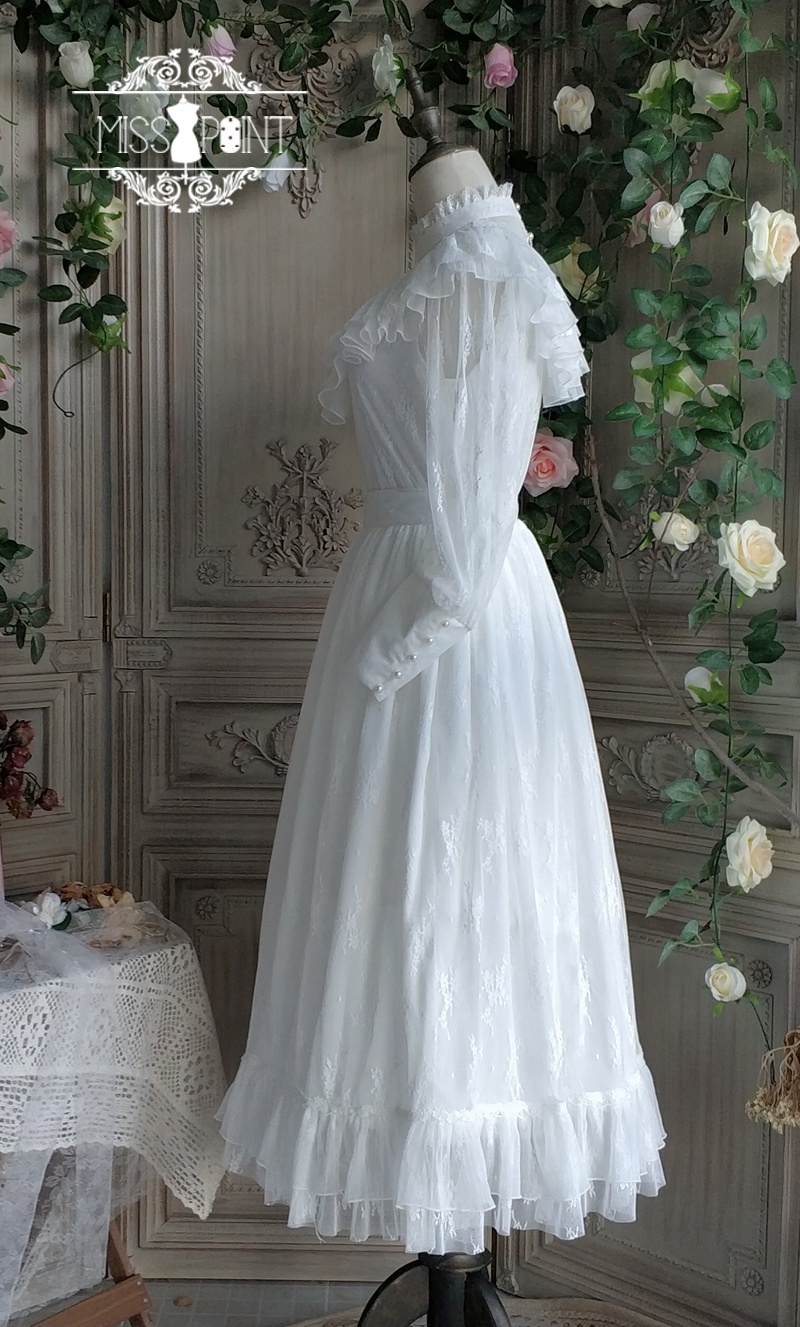 Vintage longue dentelle jupe gothique à volants Maxi jupe noir/blanc par Miss Point ~ sur mesure-in Jupes from Mode Femme et Accessoires    3