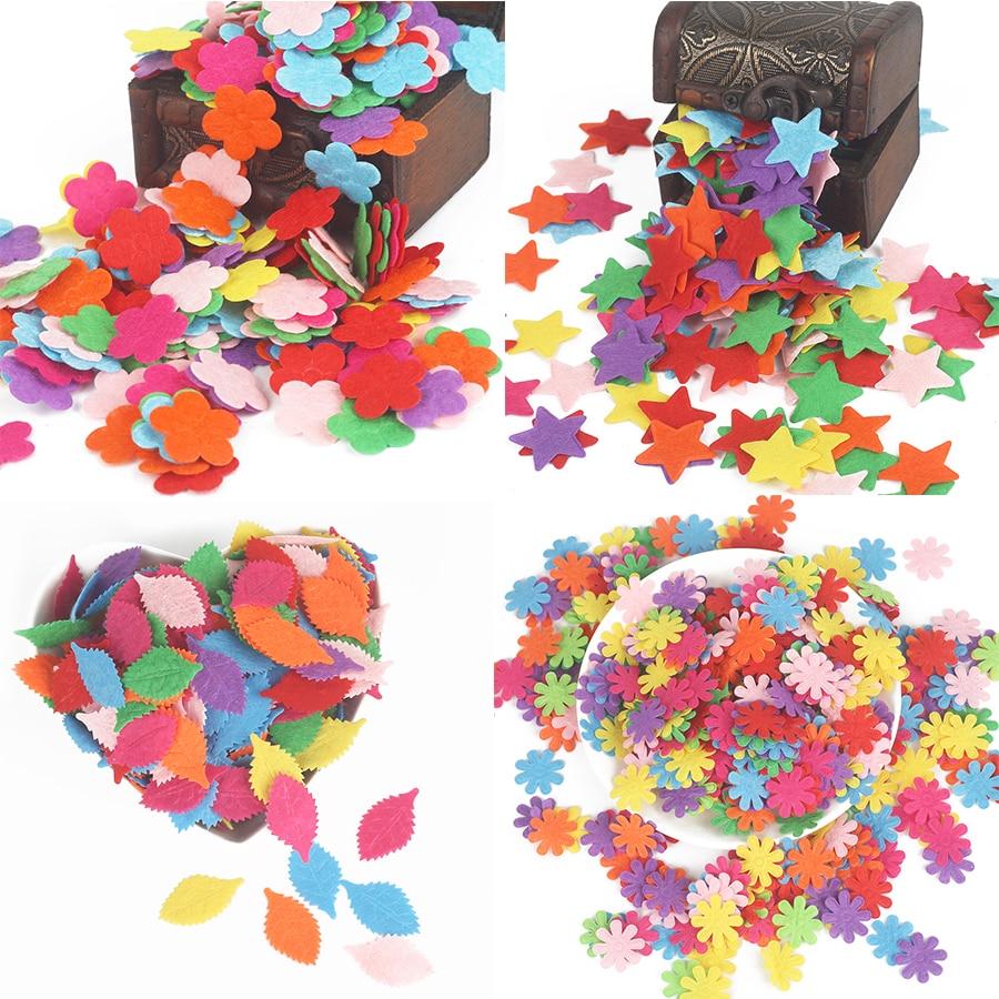 100pcs Flower/Heart/Butterfly Non-Woven Felt Fabric Cloth Felts DIY Bundle For Sewing Dolls Scrapbook DIY Craft Supplies