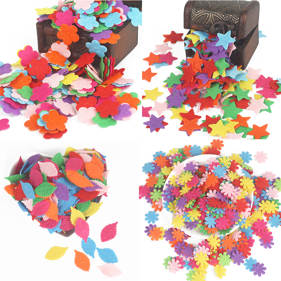 100pcs Flower/Heart/Butterfly Non-Woven Felt Fabric Cloth Felts DIY Bundle For Sewing Dolls Scrapbook DIY Craft Supplies(China)