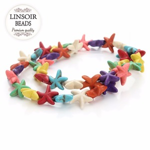 Approx.40pcs /pack 1.4cm*1.4cm Colored Starfish Loose Created Spacer Seed Beads Semi Precious Stones DIY Jewelry F1353(China)