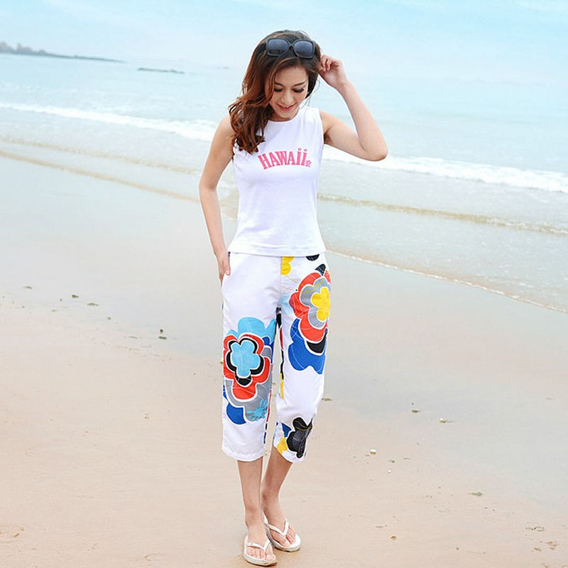 2015 summer women casual jeanette capris beach pants floral