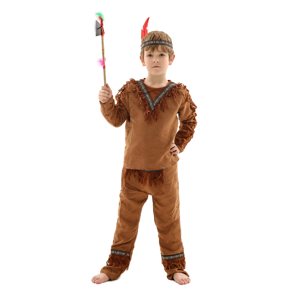 Kids Halloween Costumes Gorgeous Clothing Native Ancient Indian Children Role-Play Characteristic Sets Indain Stage Performance