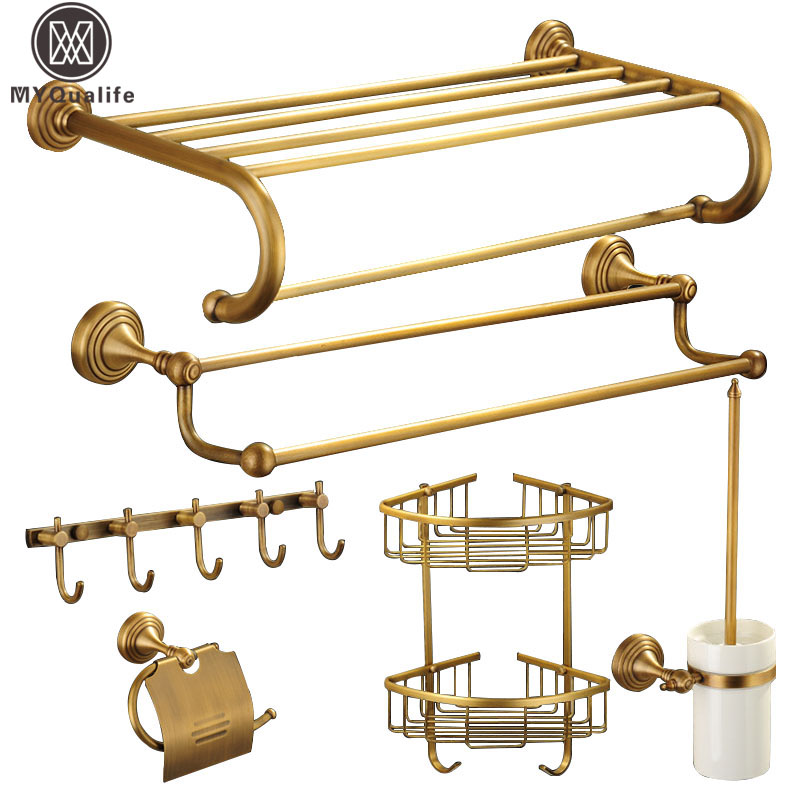 Antique Brass Bathroom Accessories Wall Mounted Bath Hardware Sets Bath Towel Shelf Towel Bar Paper Holder Cloth Hook aluminum wall mounted square antique brass bath towel rack active bathroom towel holder double towel shelf bathroom accessories