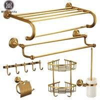Antique Brass Bathroom Accessories Wall Mounted Bath Hardware Sets Bath Towel Shelf Towel Bar Paper Holder Cloth Hook