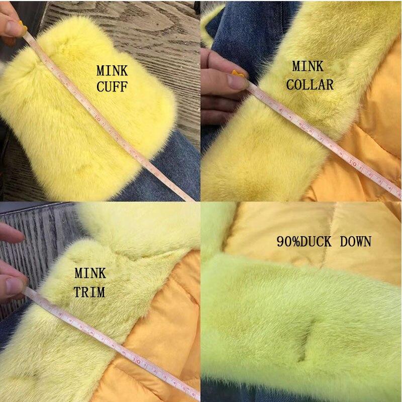 Avec Réel Blue Purple Gratuite Femmes De yellow grey purple light Vison Mode Nouveauté Livraison Manteau Fourrure Veste White Denim Duvet D'hiver Garniture F0xYUp