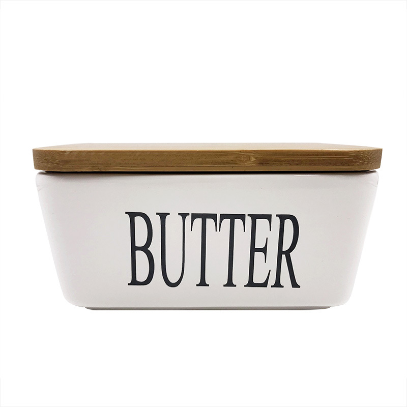 Quail Large Capacity  Butter Sealing Box,Ceramic,White,with Wood Lid,Cheese Server Tray, Butter Dish