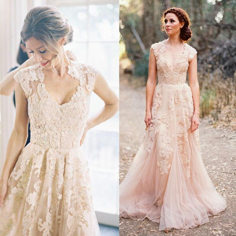 Blush Pink Dusty Rose Liqued Lace Wedding Dresses Country Style A Line Sheer Neck Sweep Train Vestido De Novia Tulle Gown In From