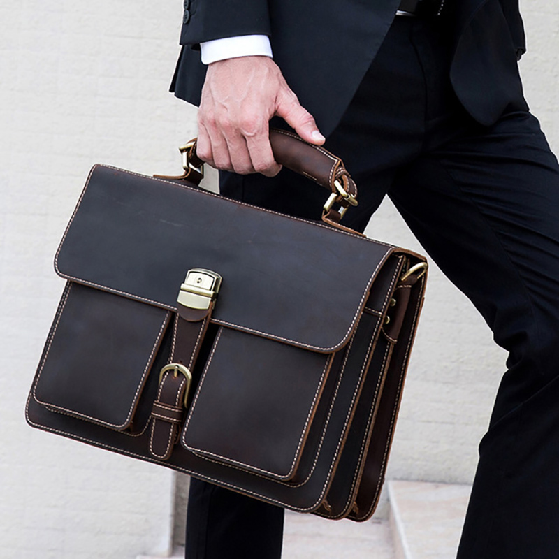 "Vintage Men's Genuine Leather Briefcase 16"" Cowhide Business Bag Cow Leather Laptop Double Layer Messenger Bag PC Work Tote(China)"