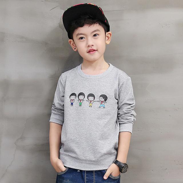 Pioneer crianças novo 2016 moda outono menino casaco longsleeved topos o-pescoço carta padrão de impressão dos desenhos animados roupa dos miúdos camisetas