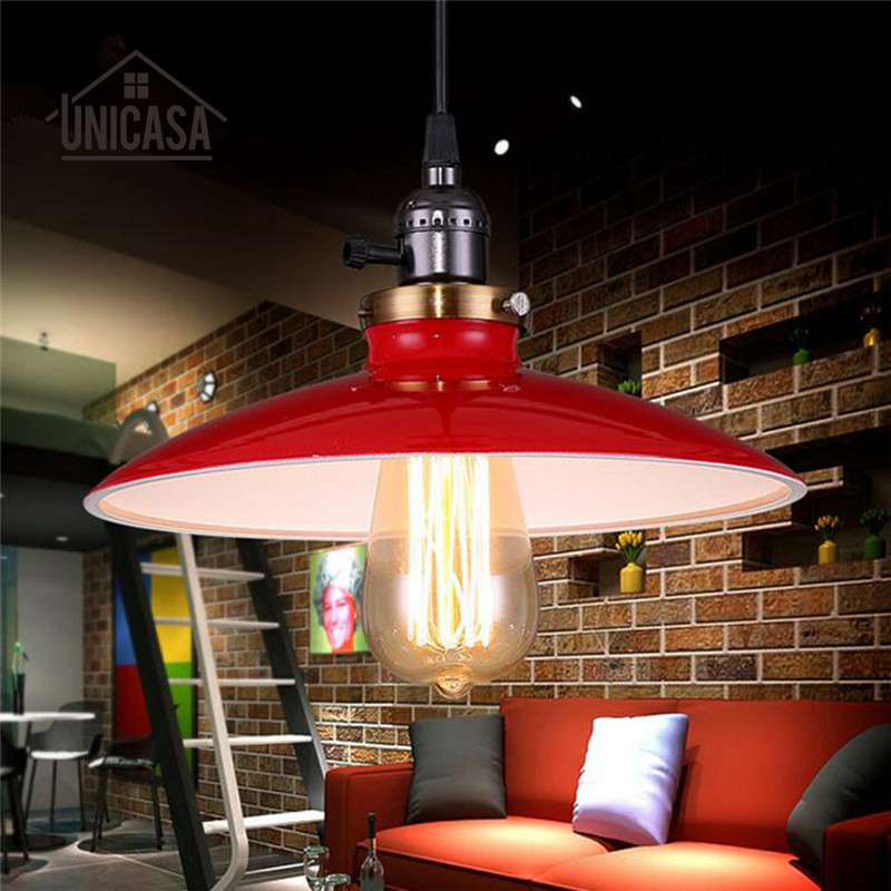 Vintage Iron Light Fixture Red Shade Lighting Fixture Kitchen Modern Pendant Lights LED Retro Industrail Pendant Ceiling Lamp