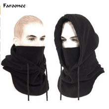 Cagoule thermique en polaire pour homme, chapeau à capuche, chauffe-cou, sport d'hiver, masque facial de Snowboard, bonnets masqués