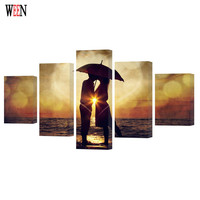 WEEN Framed 5Pcs Romantic Large Kiss Lover Wall Pictures For Living Room HD Printed Modern Cuadros