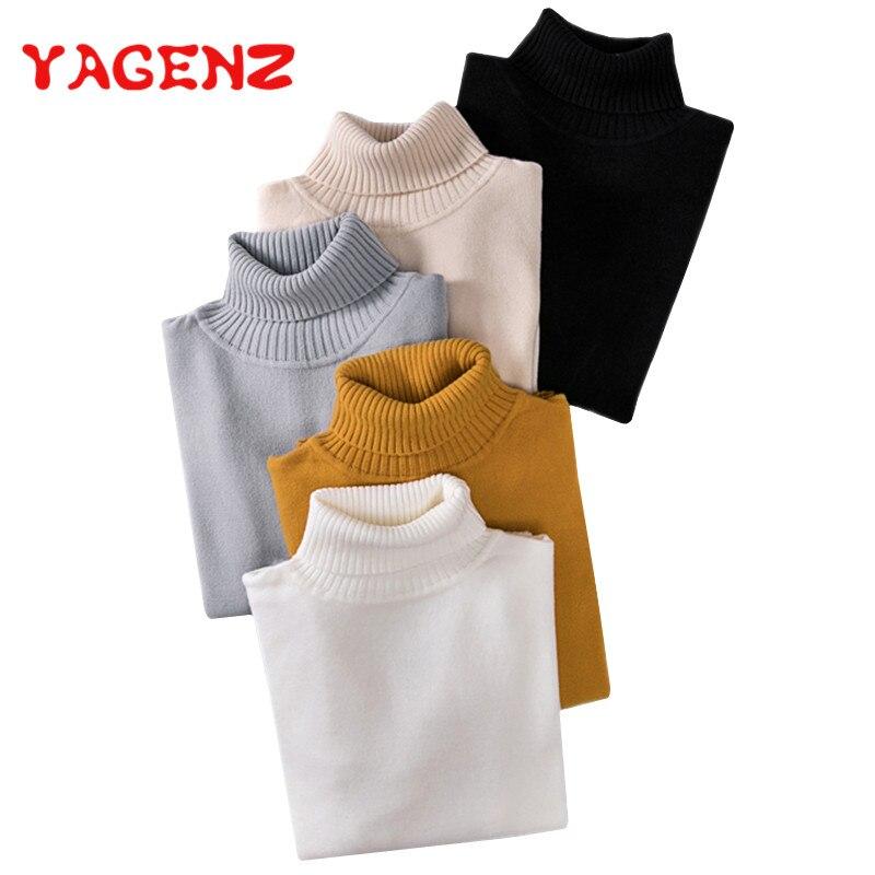 YAGENZ mujeres del suéter del otoño y del invierno hecho punto camisa elástico de manga larga cuello alto suéteres hembra de punto suéteres