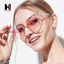 SHAUNA Metal Hinge Popular Heart Sharp Women Cat Eye Sunglasses Fashion Glitter Pink Glasses UV400
