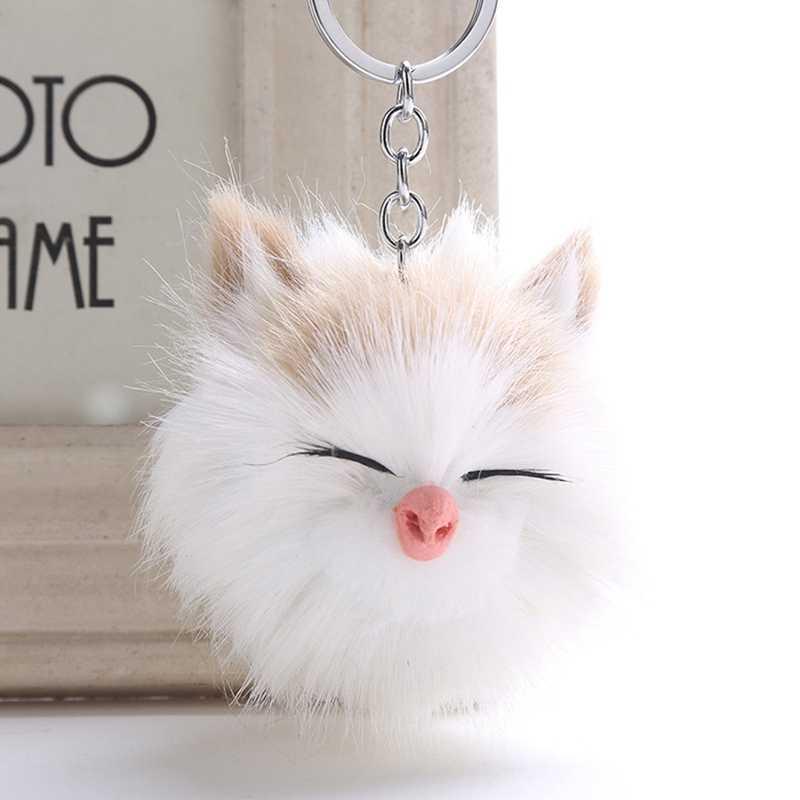 Новинка, имитация кроличьего меха, милый котенок, шарик для волос, брелок, подвеска, модные женские аксессуары