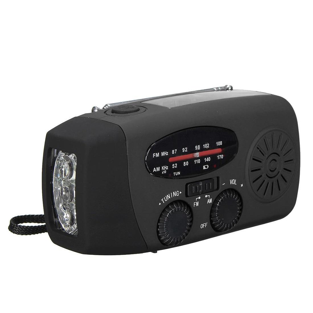 Imperméable à l'eau Portable manivelle Solaire Radio AM/FM 3 LED lampe de Poche Chargeur de Téléphone noir