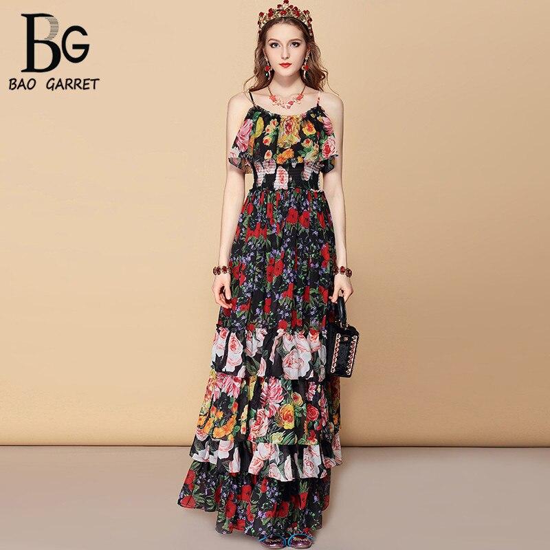 Bao Garret Bohemian Holiday Party Summer Maxi Dress Womens Elastic Waist Cascading Ruffles Floral Print Elegant Long