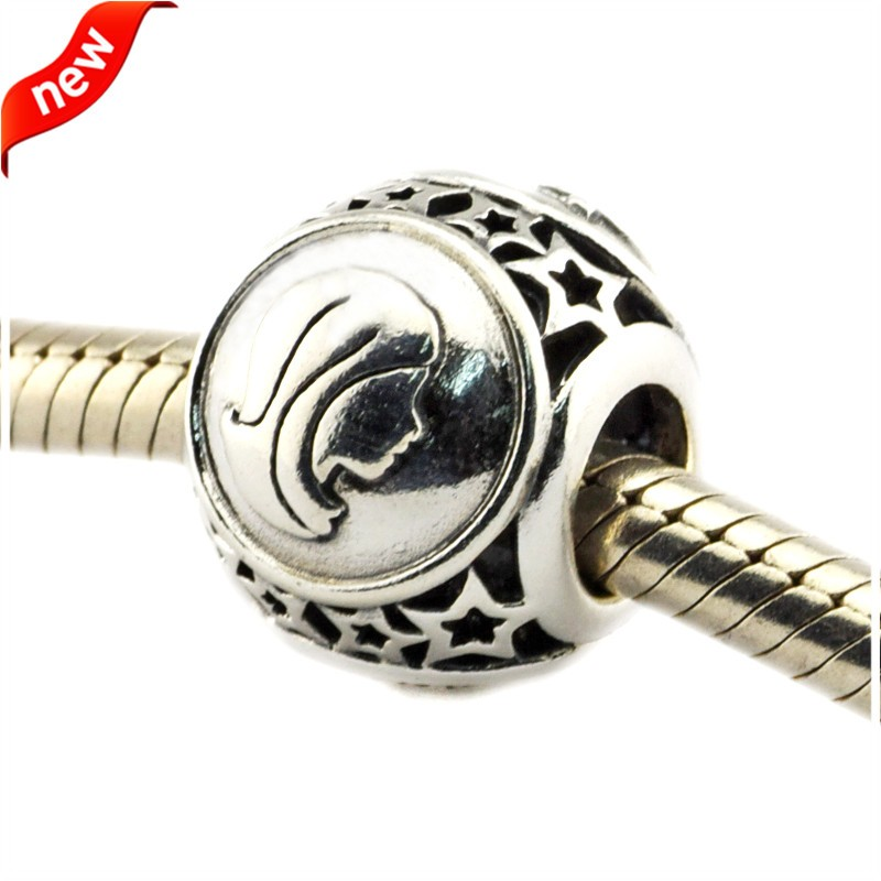 925 Silver Jewelry Beads DIY Fits Pandora Bracelets Charms Virgo Star Sign Silver Charm Beads for Jewelry Making Women Gift