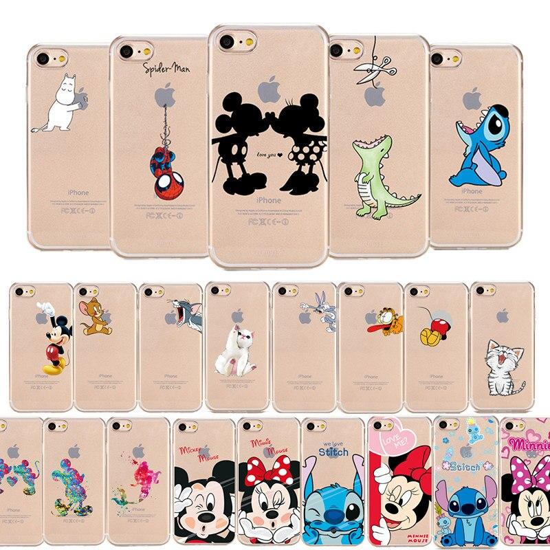 Bande dessinée Silicone Téléphone étui pour iPhone 7 8 Plus XS MAX XR Mignon Doux Mickey Minnie Couverture Pour iPhone X 6 6 S Plus 5 SE Coque Fundas