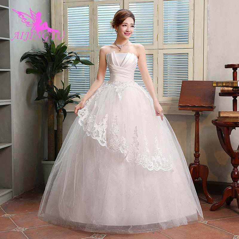 AIJINGYU 2018 free shipping new hot selling cheap ball gown lace up back formal bride dresses