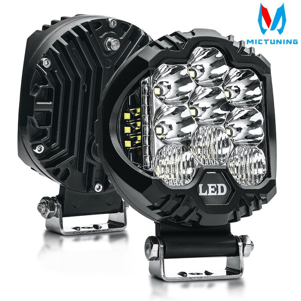 "MICTUNING 2pcs 5"" 58W LED Work Light Spot Flood Combo Driving Fog Lamp LED Work Light for off-road Truck Car ATV SUV J-eep Boat"