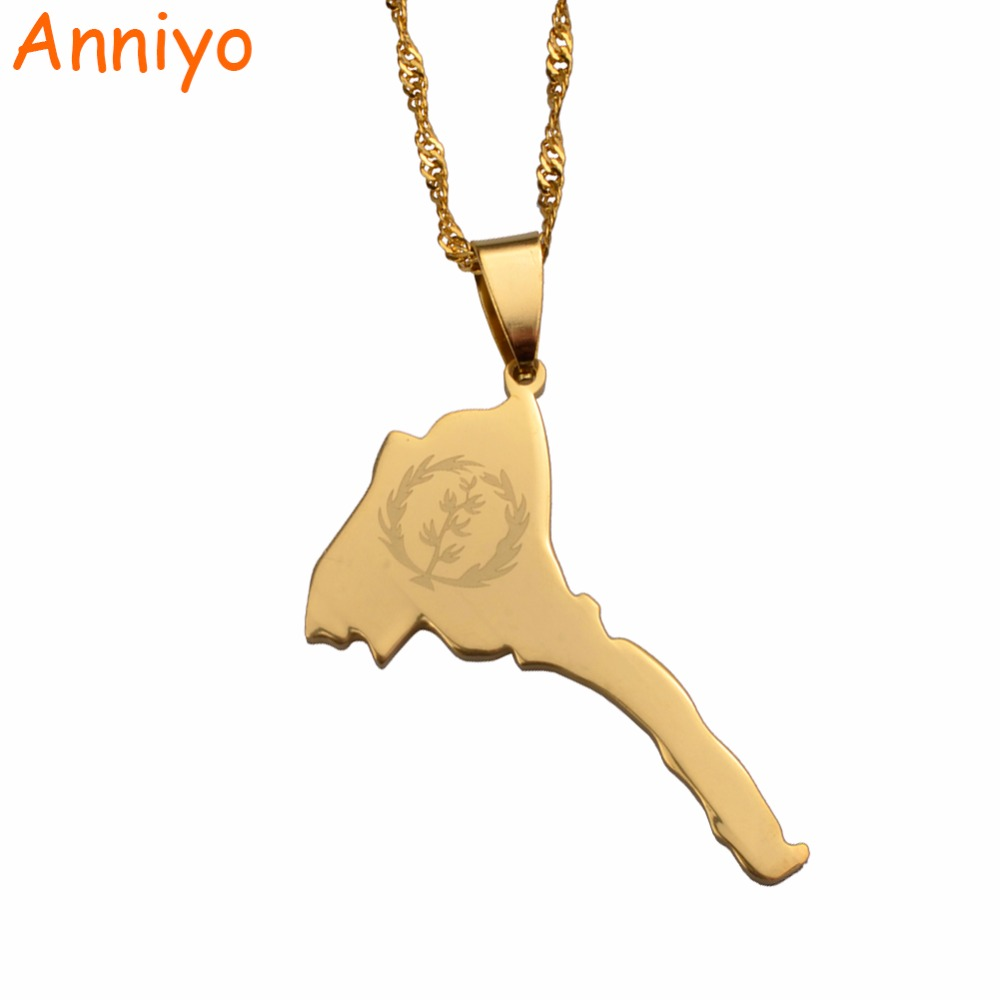 Anniyo Eritrea Map & Flag Pendant and Thin Necklaces for Women/Girl Gold Color Jewelry African Map of Eritrean #025821 цена