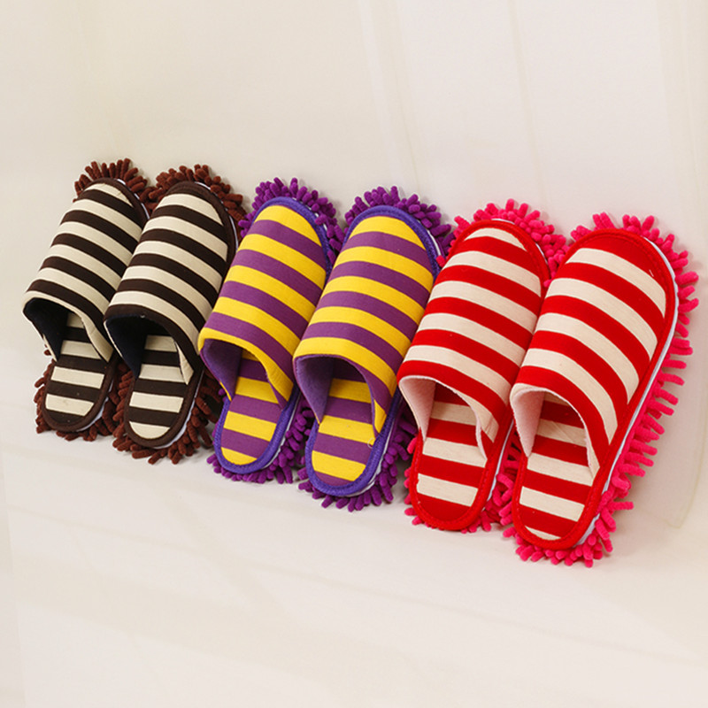 Multifunction Ground Microfiber Flooring Clean Mop Debu Remover Slippers Lantai Boleh Tanggal Lapisan Stripe Chenille Lazy Shoe Cover