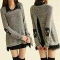 2014 la promoción de venta Formal largo plena apertura de cama cuello apliques capa de impresión Tricotado mujeres de hilo cráneo 2 unidades de lana suéter conjunto