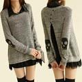 2014 venda promoção formais longo cheio Turn down Collar apliques imprimir brasão Tricotado fio crânio 2 peça de lã conjunto camisola das mulheres
