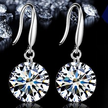 2017new White Crystal Zircon Earrings Channel Brinco Circle Round Stud For Women Silver Plated Fashion Jewelry