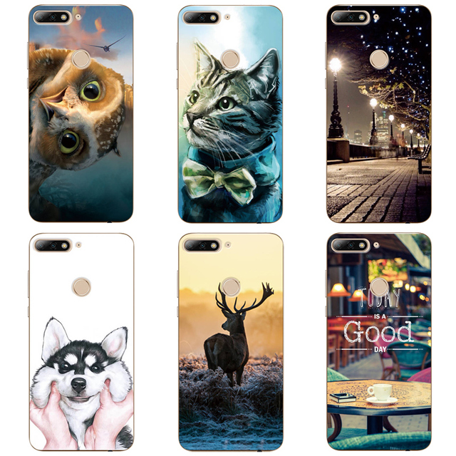 b9c695e06c9 Cat Dog Animal Patterned Case For Huawei Honor 7C Enjoy 8 Silicone TPU Soft  For Huawei Y7 Prime 2018 Nova 2 Lite Case Back Cover