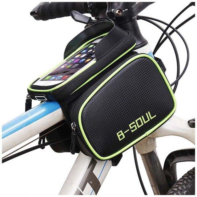 Tubo de bicicleta a prueba de agua en el marco bolsa de ciclismo bolsa de pantalla táctil soporte de teléfono bicicleta sillín bolsa para accesorios de bicicleta