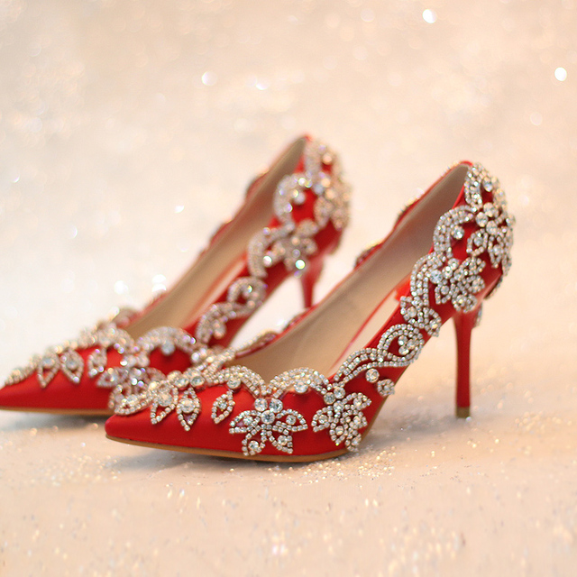 Women Pumps 2016 Red Bridal Shoes High Heels Wedding Rhinestone Thin Formal Dress