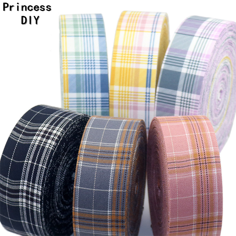 5M/Lot 10 25 50mm Woven Cotton Scottish Tartan Ribbon Craft Check Plain Riband Tape DIY Dog Collar Hair Bowknot Accessories Trim tartan