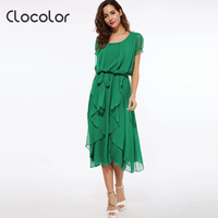 Clocolor Maxi Dress Women Green Red Black Ankle Length Falbala Puff Sleeve Asymmetrical Summer Chiffon Dress