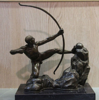 Western Art Figurine Bronze Copper Pull Bow Archery Marble Base Statue Sculpture