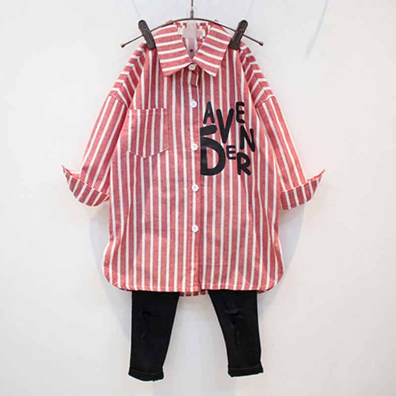 Camisa de manga larga para niña otoño nuevos niños 6 algodón 7 solapa 8 camisa a rayas 9 versión coreana 12 años blusa de chica de abrigo viejo