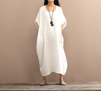 Original Cotton Linen Solid Dress Summer New Women O Neck Casual Short Sleeve 3 Colour Nation