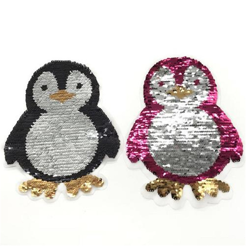 T-shirt Girl Patch 220mm penguin flip double sided Patches for clothing Reversible change color sequins T shirt Stickers
