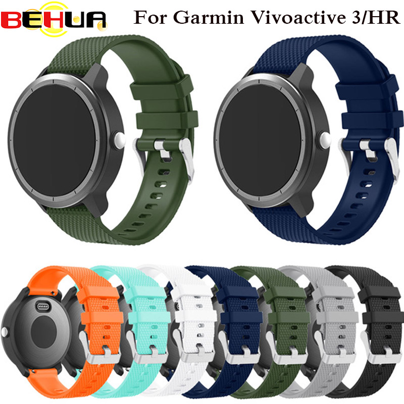 все цены на Colorful Soft Silicone Replacement Strap for Garmin Vivoactive3 Vivomove HR Smart wristband for Garmin Vivoactive 3 Watch band онлайн