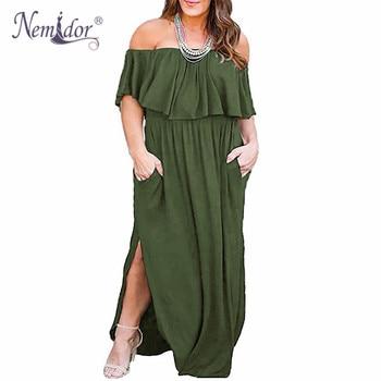Nemidor Women Upper Flounce Layer Off The Shoulder Party Long Dress Vintage Loose Pockets Plus Size 7XL 8XL 9XL Split Maxi Dress flounce swim dress set