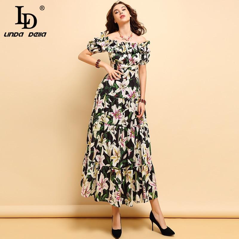 LD LINDA DELLA Mode Frühjahr Sommer % Baumwolle Kleid frauen Plissee Rüschen Floral Gedruckt Elegante Hohe Taille Partei Lange kleider-in Kleider aus Damenbekleidung bei  Gruppe 3