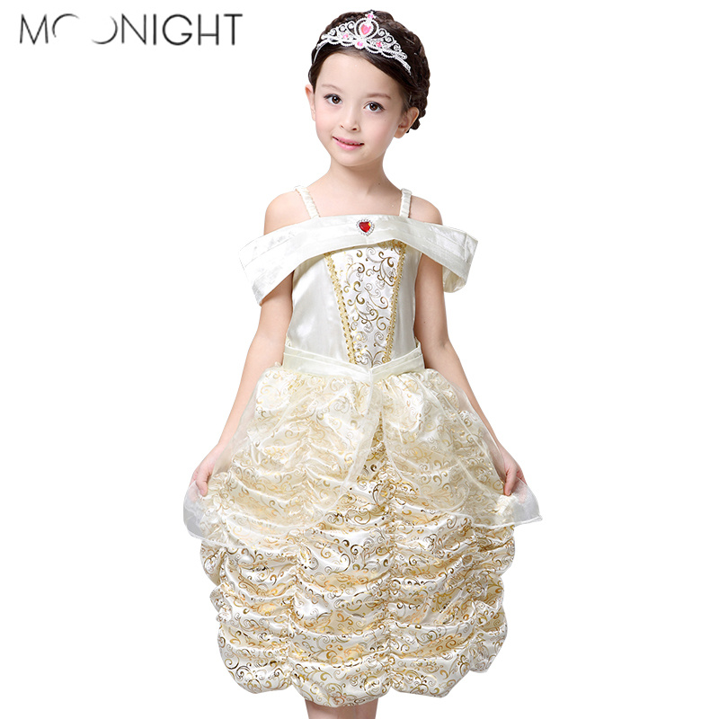 MOONIGHT Children Belle Costume Deluxe Girl Cosplay Party Dresses Gown Kids Dress Up Girl Princess Dress